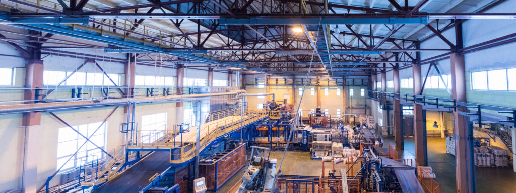 Wide-angle view of a factory interior