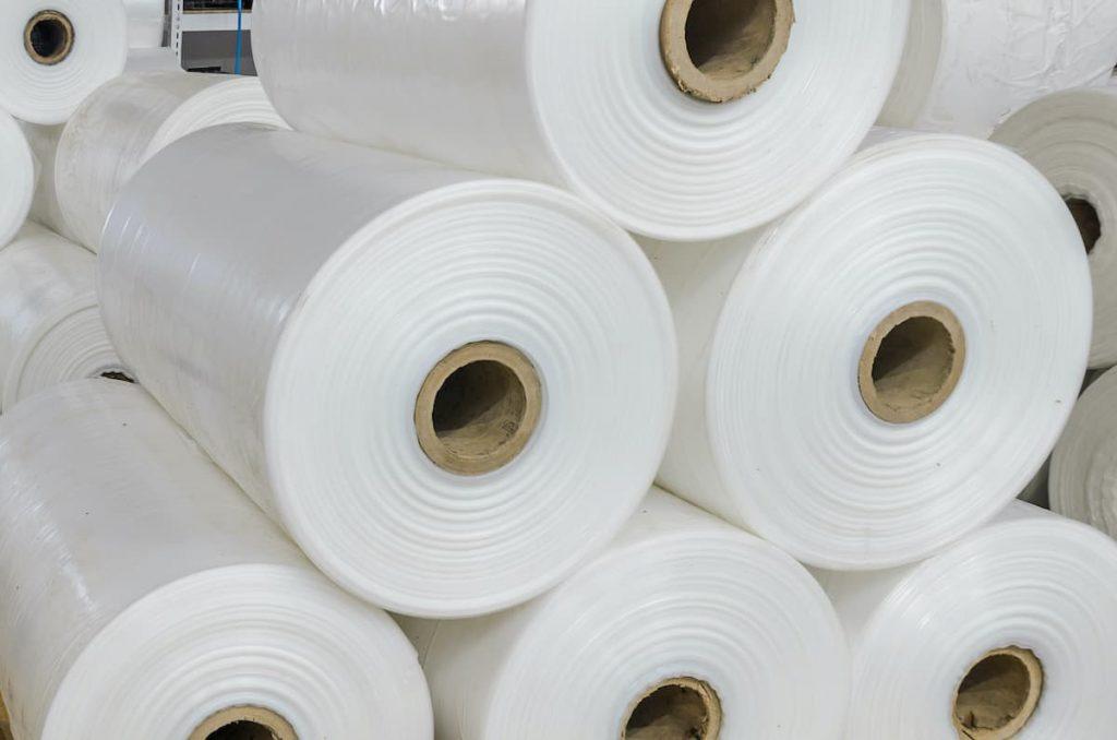 Warehouse with rolls of polyethylene